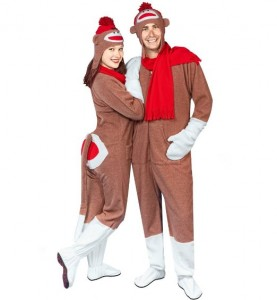 sock monkey couple costume