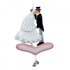 just married kissing ornament