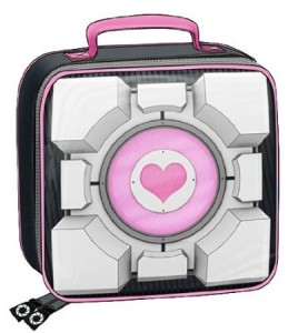 portal companion cube lunch bag