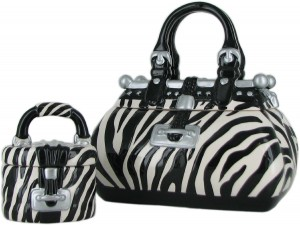 zebra purse cookie jar