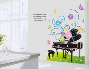 piano wall decals color